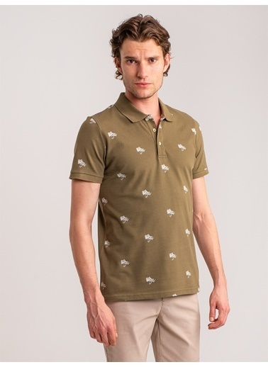 Dufy Palmıye Baskili Pamuklu Polo Yaka Erkek T-Shirt - Regular Fit Haki